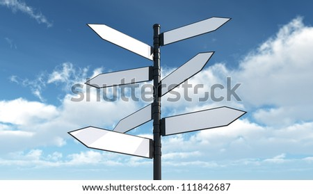 Blank roadsign - Isolated on Sky Background - stock photo