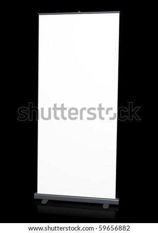 Blank roll-up banner against a black background. 3D rendered image. - stock photo