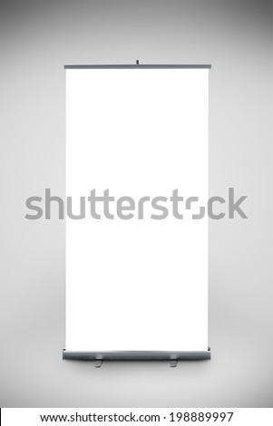 Blank Roll up banner as copy space template for your text or design portfolio. Point of sale marketing graphics element. - stock photo