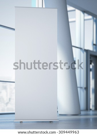 Blank roll up banner at the modern office. 3d rendering - stock photo