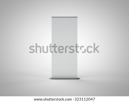 Blank Roll Up Banner (3D Professional Render) - stock photo