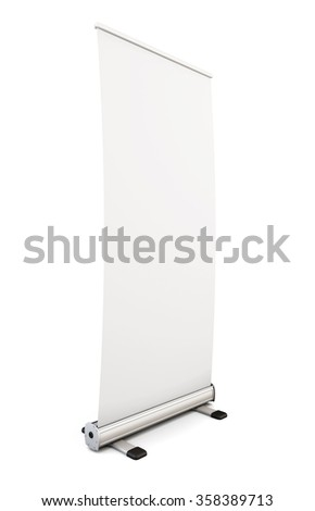 Blank roll up banner display isolated on white background. Template advertising stand for your design. 3d illustration. - stock photo