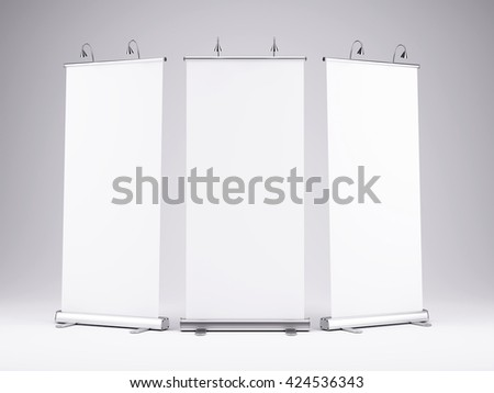 Blank roll up banner display on white background.Template mockup.3d render - stock photo