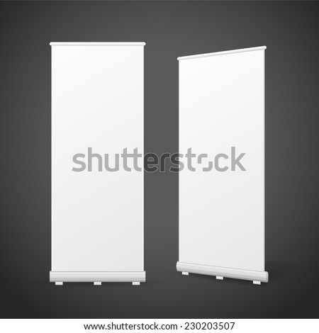 blank roll up banners set isolated over black background - stock photo