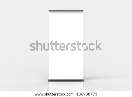 Blank roll-up poster banner display - stock photo