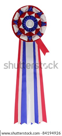 blank rosette ribbon on white background - red, blue and white - stock photo