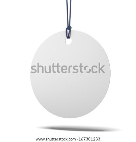 Blank round price tag - stock photo