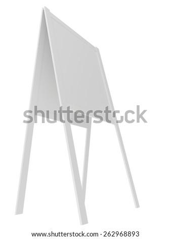 Blank sandwich board. 3d rendering on white background. - stock photo