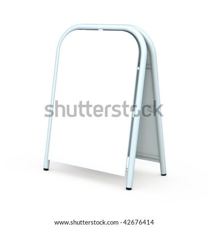 Blank sandwich board isolated on white - stock photo