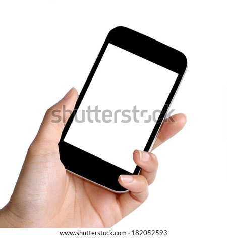 blank screen mobile phone in female hand  - stock photo