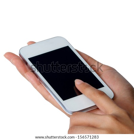 Blank screen mobile phone in women hands isolated on white background - stock photo