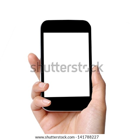 blank screen modern mobile phone in women hand - stock photo