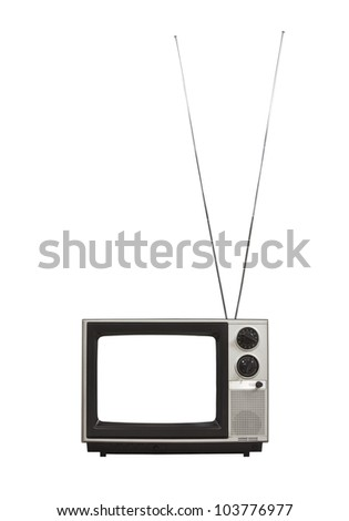 Blank screen portable vintage television with long antennas up.  Isolated on white. - stock photo