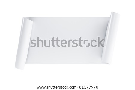 blank scroll, isolated 3d render - stock photo