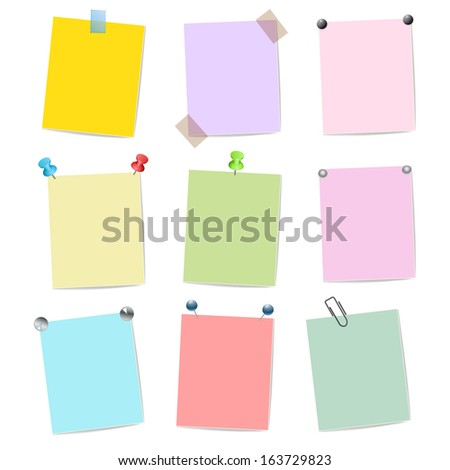 blank set of multicolor stickers with pins  - stock photo