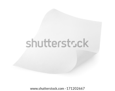 Blank sheet of paper isolated on white with clipping path - stock photo