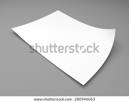 Blank sheet of white paper on gray background - stock photo