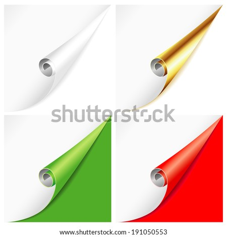 Blank sheet of white paper with curved corners on different backgrounds - stock photo