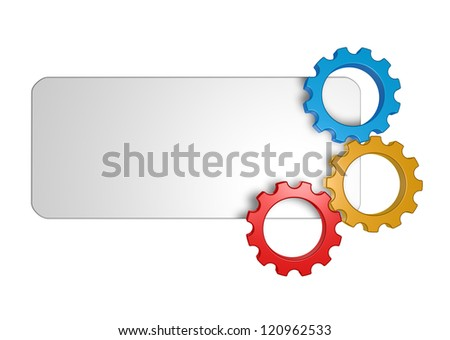 blank sign and gear wheels - 3d illustration - stock photo