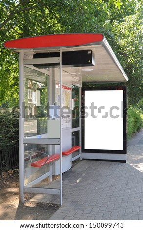 Blank sign at bus stop for your advertisement or graphic design - stock photo