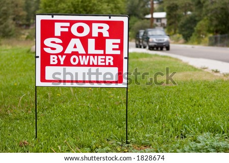 blank sign for sale by owner - stock photo