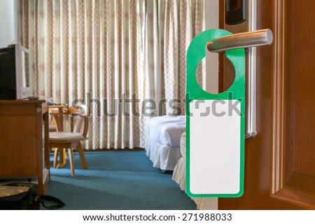 Blank sign of hotel room - stock photo