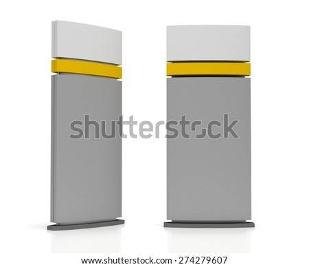Blank Sign Tower (isolated on white background) - stock photo