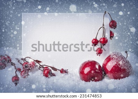 Blank sign with red christmas decorations - stock photo