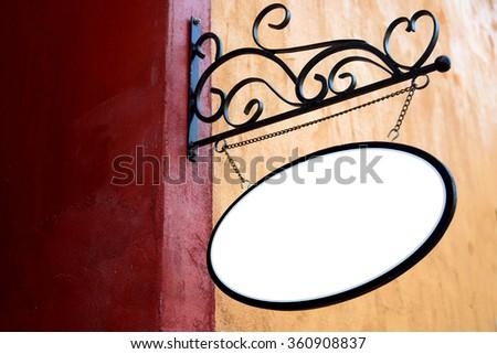 Blank Signboard on brick wall background - stock photo
