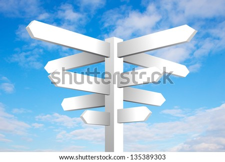 Blank signpost on cloudy blue sky background - stock photo