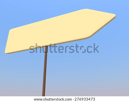 Blank signpost over blue sky. Yellow background. - stock photo