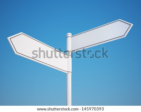 Blank Signpost with Clipping Path  - stock photo