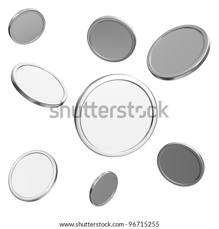blank silver coins on white background - stock photo