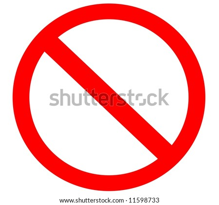 Blank simple ban forbidden sign symbol - stock photo