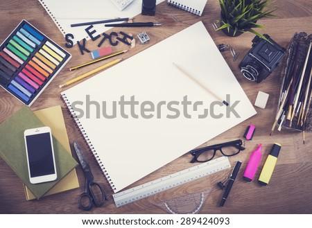 Blank sketchbook mockup hero header  - stock photo