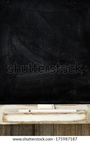 blank slate blackboard and chalk vertical photo - stock photo