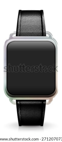 Blank Smart Watch with black Fabric Strap - stock photo