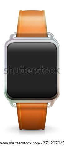 Blank Smart Watch with rubber / plastic orange Strap - stock photo