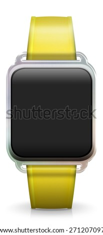 Blank Smart Watch with rubber / plastic yellow Strap - stock photo