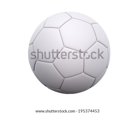 Blank soccer ball / football with leather hexagon and pentagon pattern isolated on a white background. With space to put your own design. - stock photo