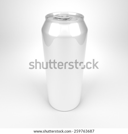 Blank soda or beer metal can fish eye view - stock photo