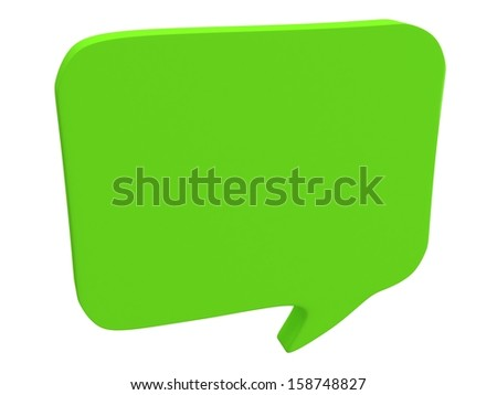 Blank speech bubble isolated on white. Chat symbol, conference concept. 3d Render - stock photo