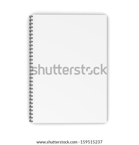 Blank spiral notebook isolated on white background. 3d illustration - stock photo