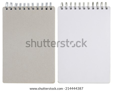 blank spiral notebook isolated on white with clipping path - stock photo