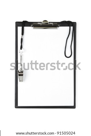Blank sports clipboard on white background - stock photo