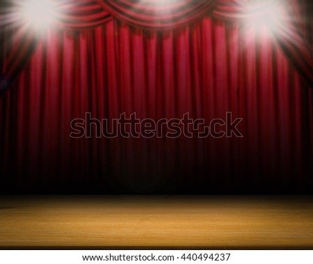 blank stage with shining flash light and red curtain background - stock photo