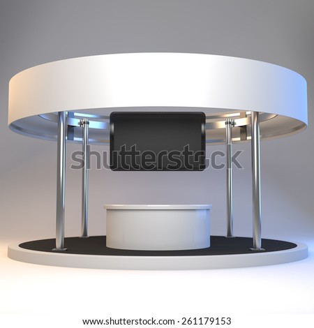 blank stall with rondo in an exhibition with tv display - stock photo
