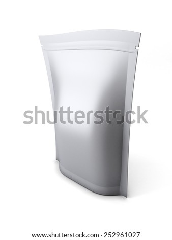 Blank stand up pouch foil or plastic packaging with zipper isolated on white background. 3d render image. - stock photo