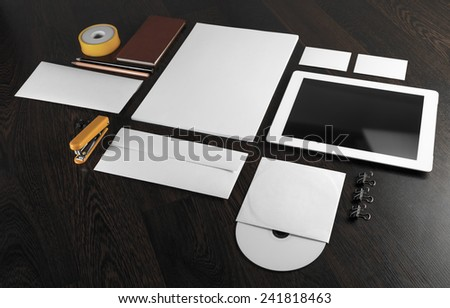 Blank stationery and corporate id template on wooden background. - stock photo