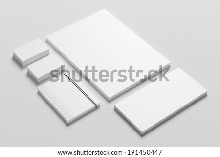 Blank stationery isolated on white background - stock photo